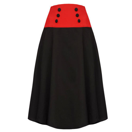 Banned Black Cherry Midi Skirt