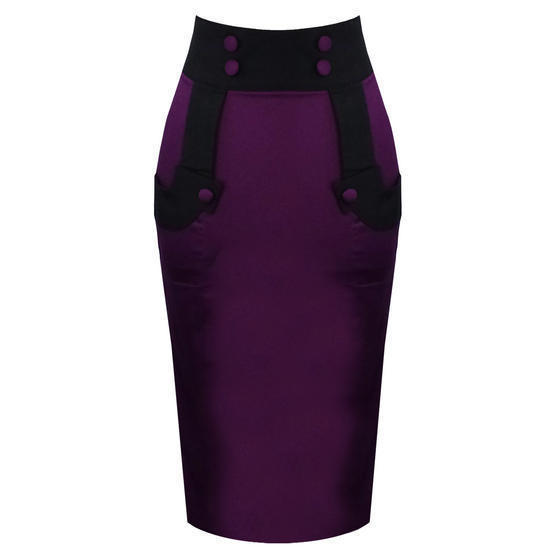 Banned Black and Purple Pencil Skirt
