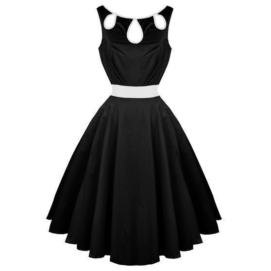 Hearts & Roses London Black Keyhole Bust 1950s Vintage Party Prom Dress UK