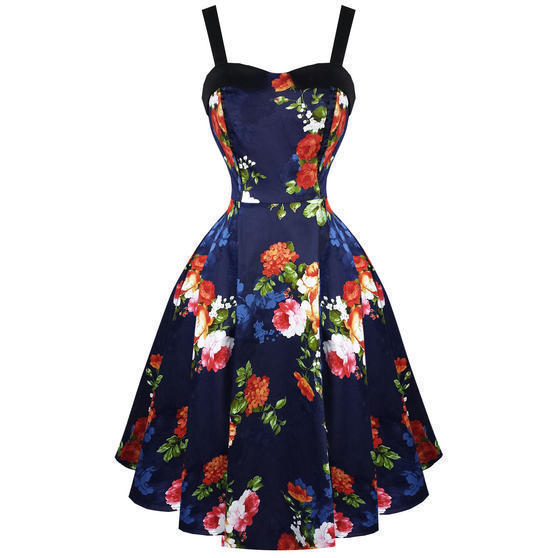 Hearts and Roses London Navy Floral 1950s Dress