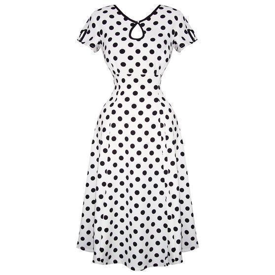 Banned White Polka Dot 1940s Dress