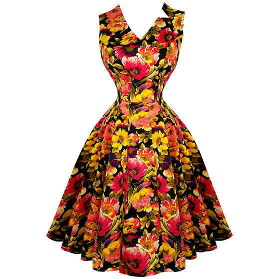 Hearts and Roses London Golden Floral 1950s Dress