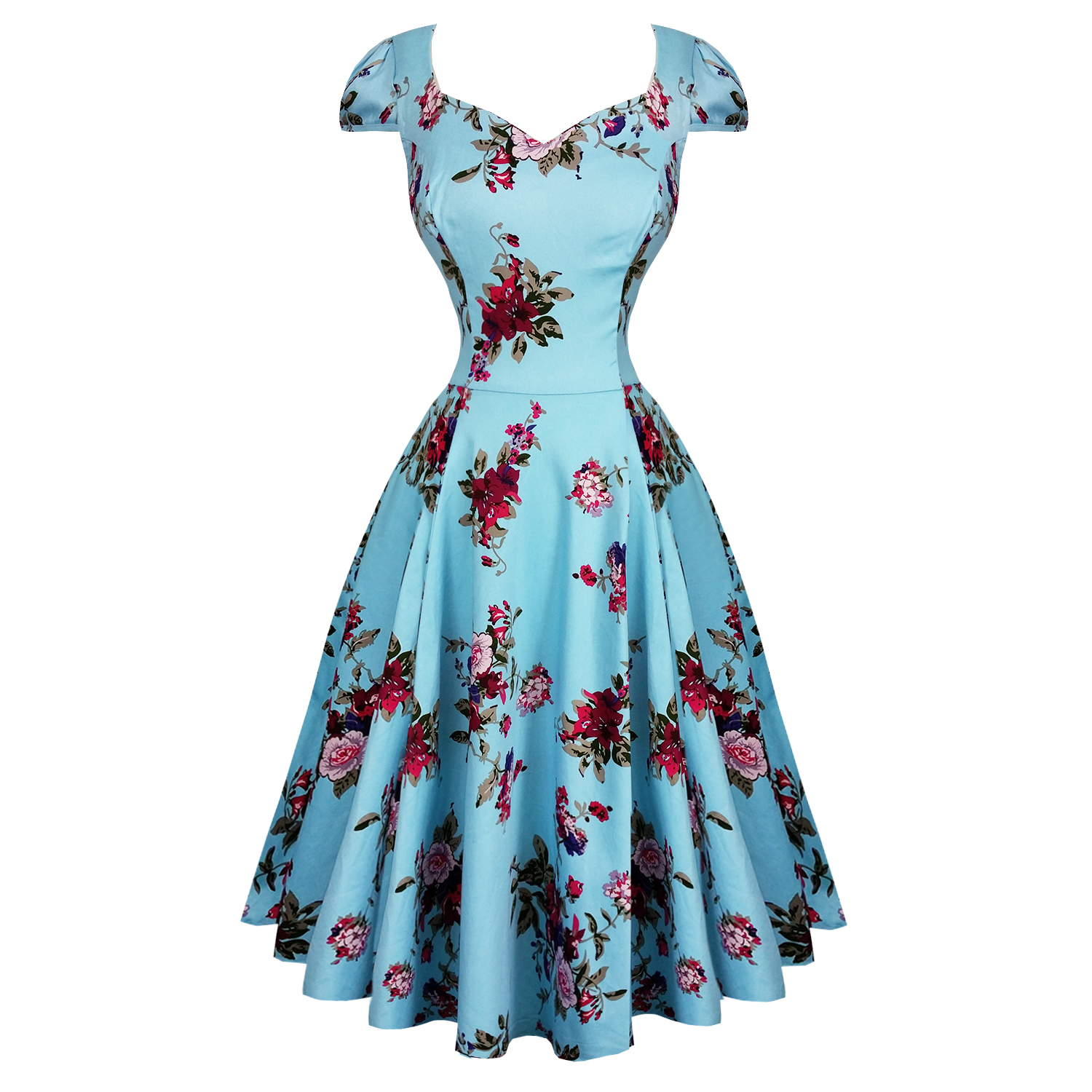 Hearts And Roses London Blue Floral 1950s Dress Hearts