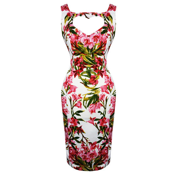 Hearts and Roses London Tropical Floral Pencil Dress