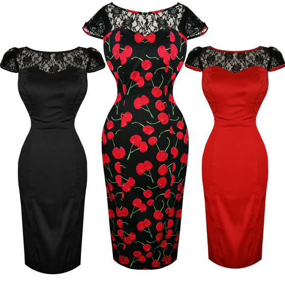 Hearts and Roses London Lace Shoulder Pencil Dress