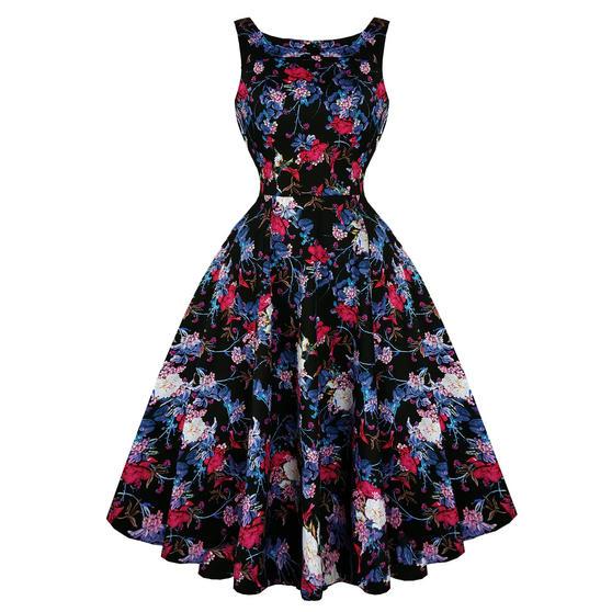 Hearts and Roses London Black Dahlia 1950s Dress