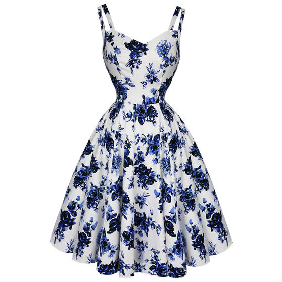 Hearts and Roses London White and Blue Floral 1950s Dress