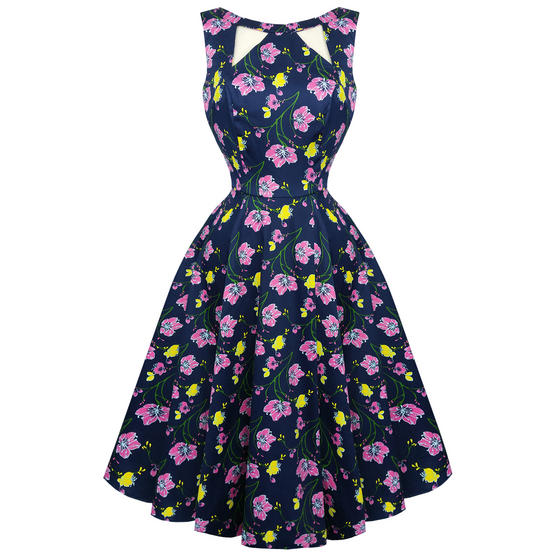 Hearts & Roses London Navy Blue Floral Retro 1950s Flared Party Swing Dress UK