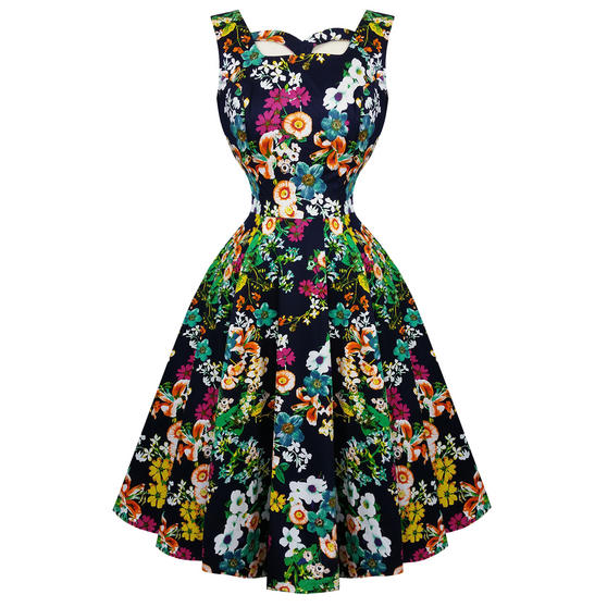 Hearts & Roses London Navy Floral 1950s Dress