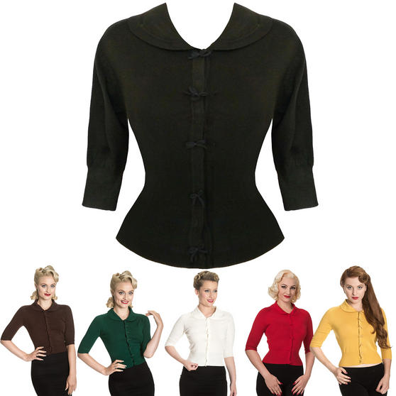 Cropped Bow 1950s Cardigan Top