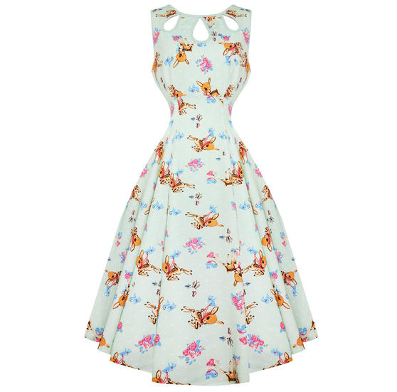 Dancing Days Whimical Deer 1950s Dress