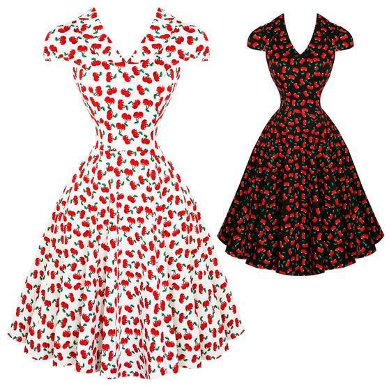 Hearts & Roses London Cherry Print 1950s Dress
