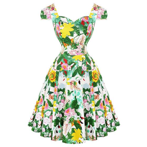 Hearts & Roses London Green Botanical 1950s Dress