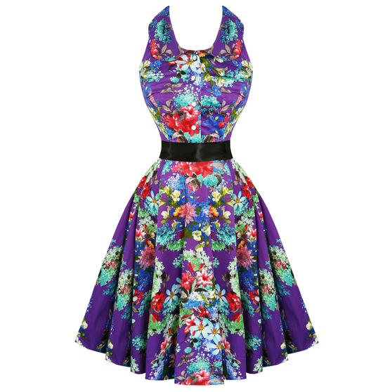 Hearts & Roses London Purple Floral 1950s Dress