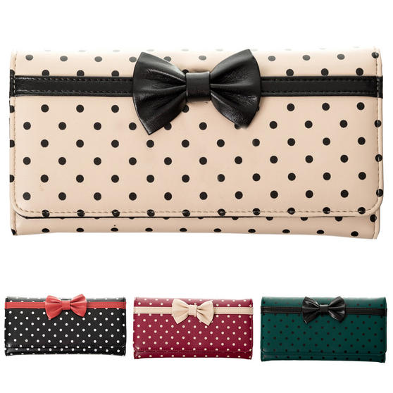 Banned Dancing Days Retro Vintage 1950s Rockabilly Polka Dot Bow Wallet Purse
