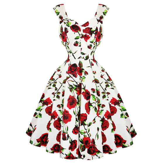 Hearts & Roses London Cream and Red Floral 1950s Dress