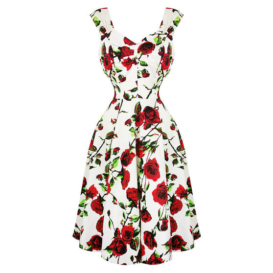 Hearts & Roses London Cream and Red Floral 1950s Dress ...