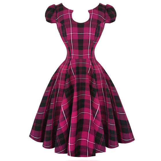 Hearts & Roses London Purple Tartan 1950s Dress