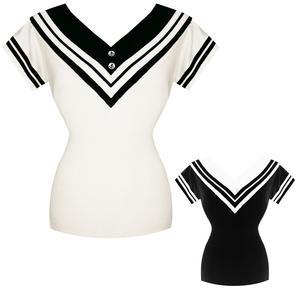 Womens Ladies Nautical Sailor Short Sleeve 1950s Vintage Retro Sweater Top