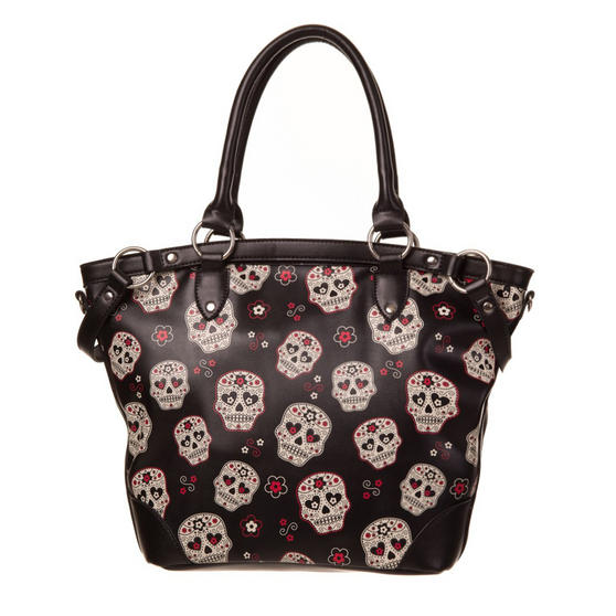 Womens Ladies Black Sugar Skull Print PU Rockabilly Tattoo Goth Handbag
