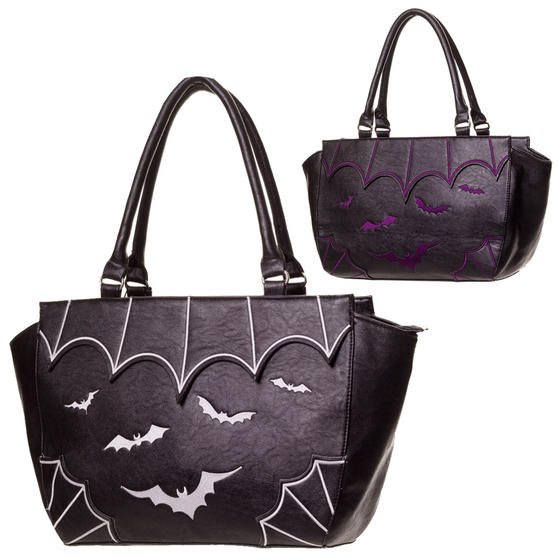 Womens Bat Wing Goth Witch Occult Satchel Shoulder Bag School College Handbag