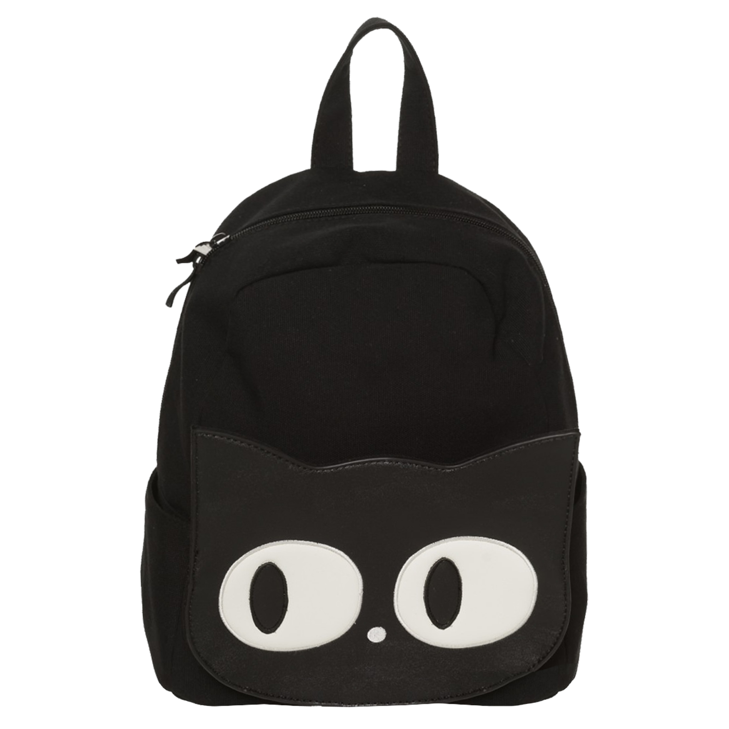14817bc8bd5 Womens Ladies Black Canvas Cat Face Goth Wicca School Uni Backpack Rucksack