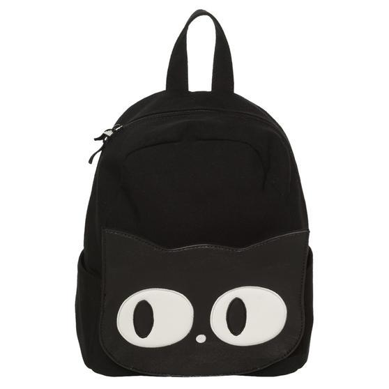 Womens Ladies Black Canvas Cat Face Goth Wicca School Uni Backpack Rucksack