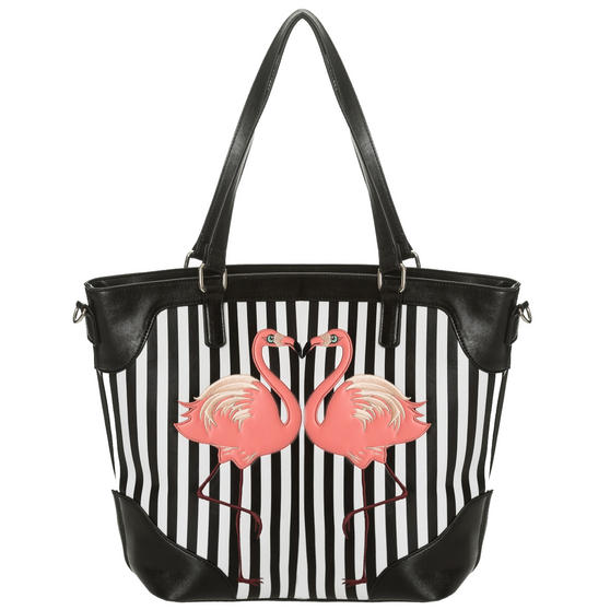 Dancing Days Blair Striped Flamingo Handbag