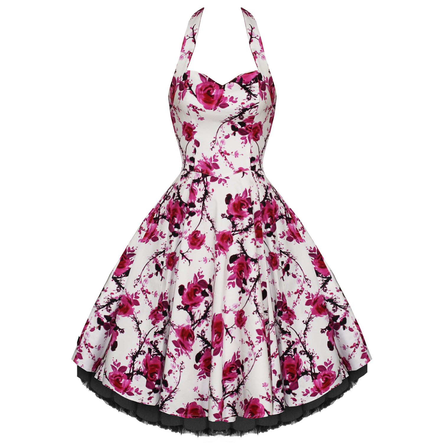 Hearts And Roses London White Pink Floral Vintage 50s Party Prom ...