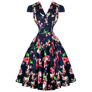 Hearts & Roses London Navy Blue Floral 1950s Dress