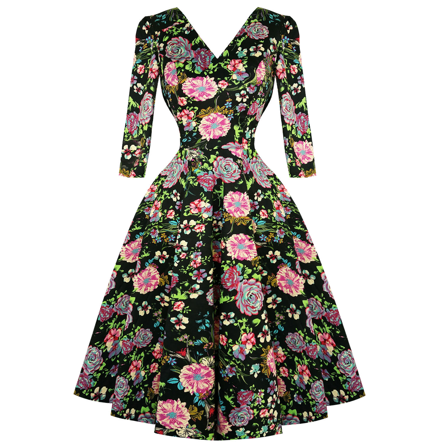 bdaa103158 Hearts   Roses London Black Pink Floral 1950s Vintage Retro Flared Swing  Dress