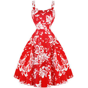 Hearts & Roses London Red Floral 1950s Dress