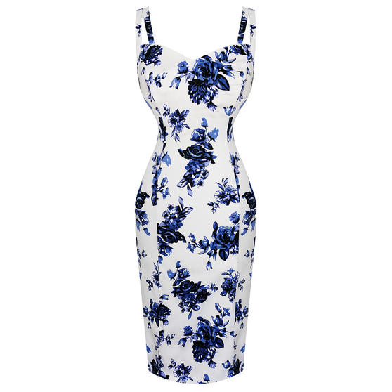 Hearts and Roses London Blue Floral Pencil Dress