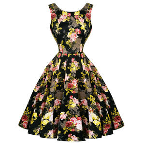 Hearts and Roses London Black Yellow Cameo Floral 1950s Dress