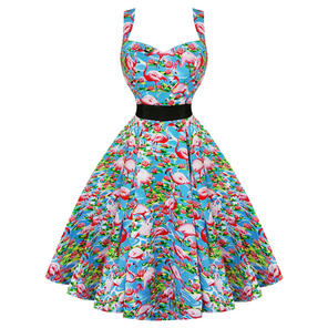 Hearts and Roses London Blue Flamingo 1950s Dress