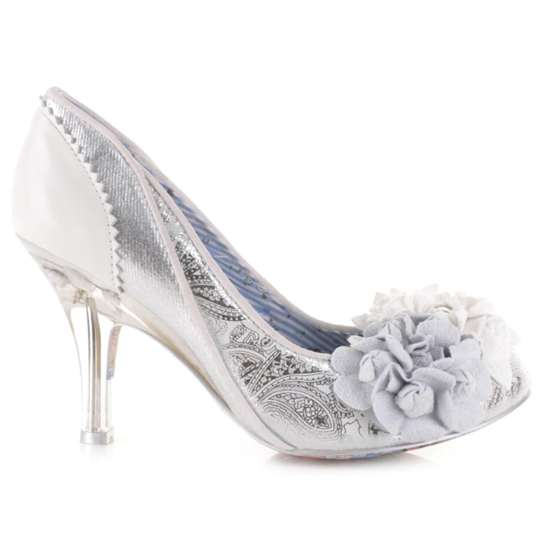 Great Irregular Choice Mrs Lower Chic Silver Vintage Retro High Heel Wedding Shoes
