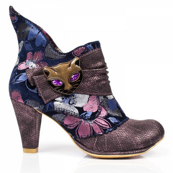 Irregular Choice Miaow Vintage Purple Floral Vintage High Heel Cat Ankle Boots