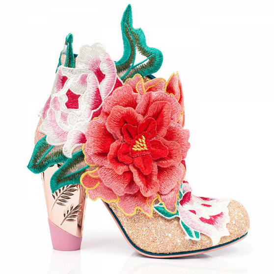 Irregular Choice Rows Garden Pink Floral High Heel Party Wedding Shoes Boots