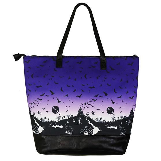 Hell Bunny Haunt Purple Ombre Goth Cat Bat Halloween Retro School Bag Handbag