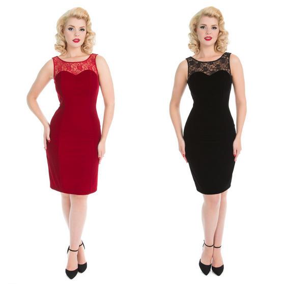 Hearts and Rose London Velvet Lace Pencil Dress