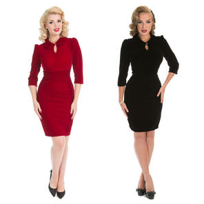 Hearts and Roses London Velvet Keyhole Pencil Dress