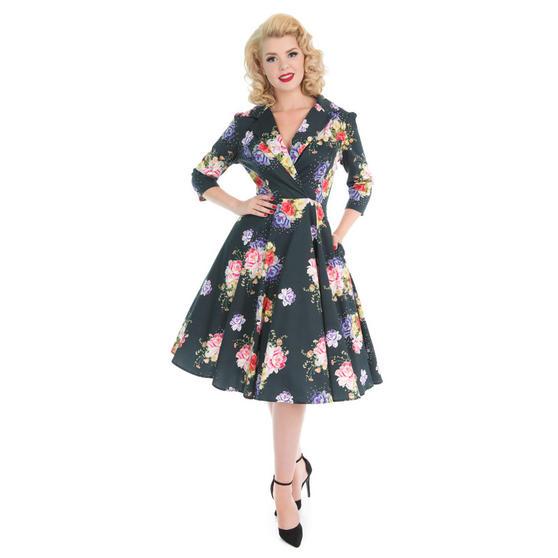 Hearts & Roses London Dark Green Floral 1950s Dress