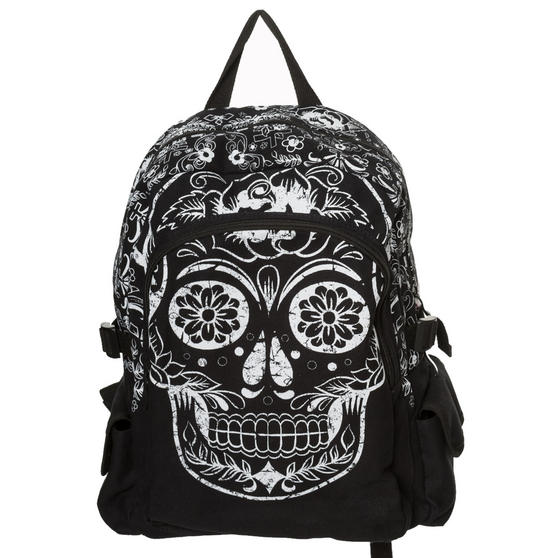 Banned Collins Black Canvas Sugar Skull Goth Alt School Uni Backpack Rucksack