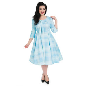 Hearts & Roses London Blue Checked 1950s Dress