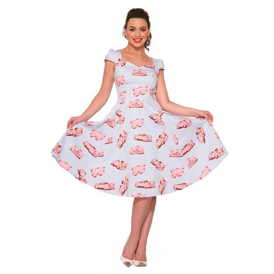 Hearts & Roses London Blue Pink Car Hop Vintage Retro 1950s Floral Flared Dress
