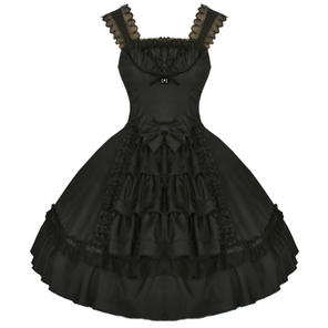 Punk Rave Womens Black 1950s Vintage Retro Lolita Party Prom LARP Dress 10 12 14