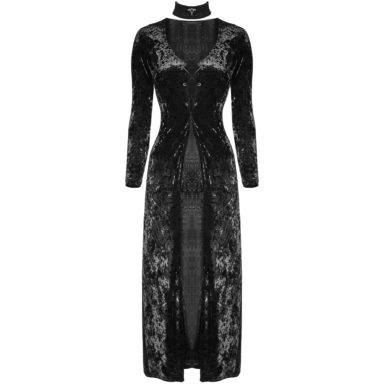 17d46570d05c Punk Rave Long Black Velvet Dress
