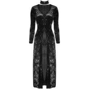Punk Rave Long Black Velvet Dress