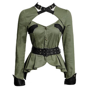 Punk Rave Green Military Blouse Top