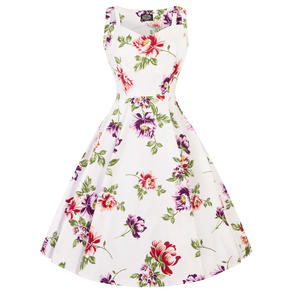 Hearts & Roses London Off White Floral 1950s Dress